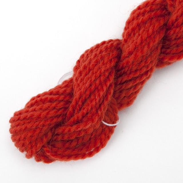 コリデール朱色 ゲージ用糸サンプル (corri7)手紡ぎ毛糸オーダー(送料込)