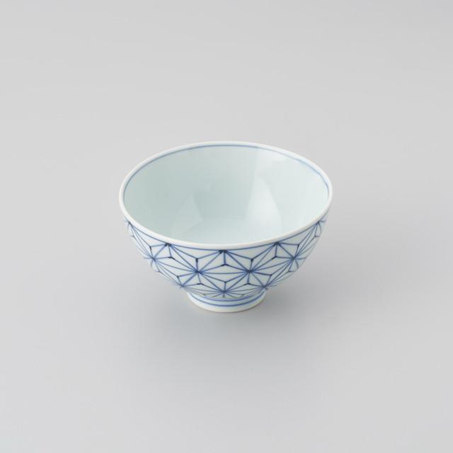 【青花】麻の葉3.8寸丸飯椀