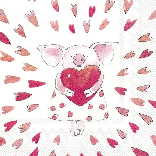 11月23日出荷|2020春夏【IHR】バラ売り2枚 ランチサイズ ペーパーナプキン PIGGY LOVE ホワイト
