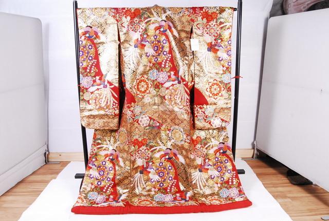 1167 美品 着物 打掛 正絹 振袖 金糸華文鳳凰 身丈184cm 裄丈66.5cm