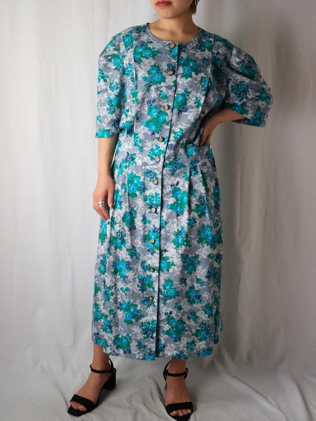 flower pattern collar less dress【5630】