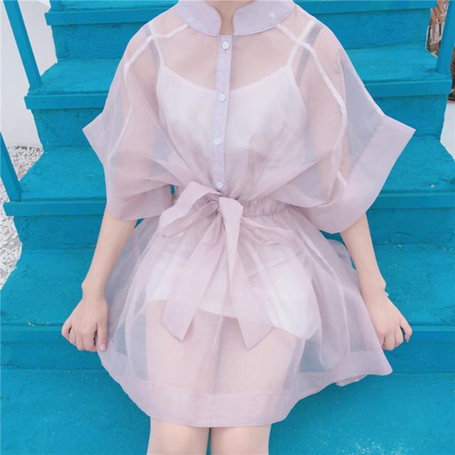 ふんわり ピンクシースルー ドレス
