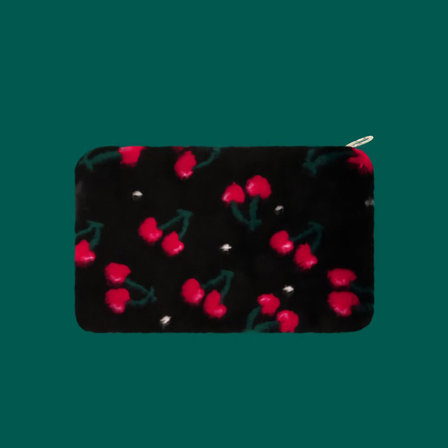 Eco Fur Clutch - Cherry - L
