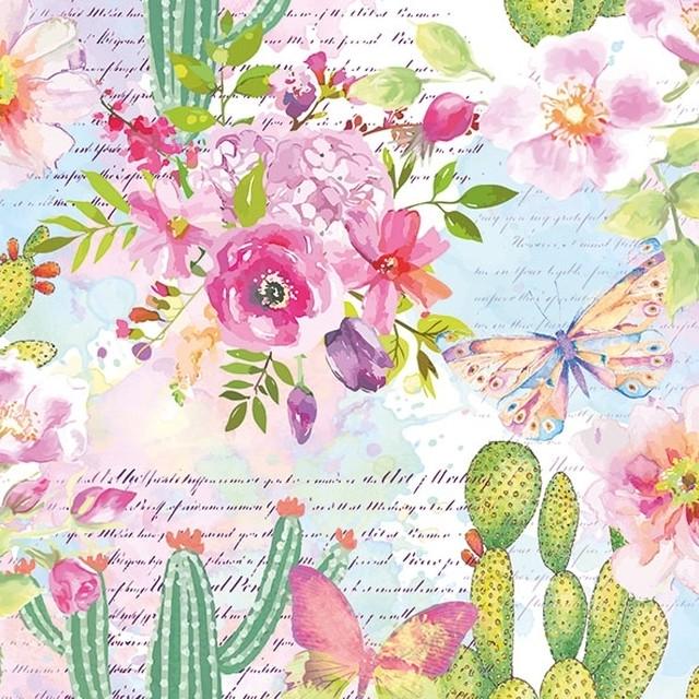 【Ambiente】バラ売り2枚 ランチサイズ ペーパーナプキン Roses & Cacti ブルーxピンク