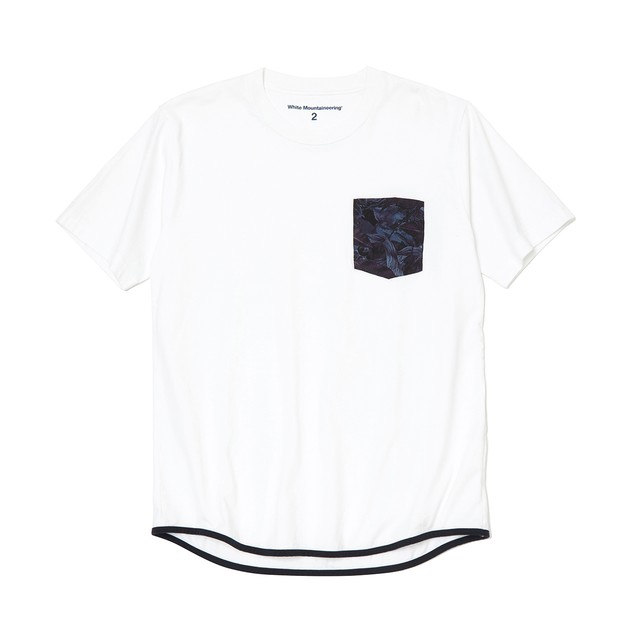 FALLEN LEAVES PRINTED POCKET T-SHIRT - WHITE