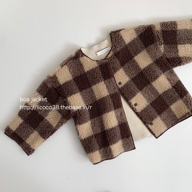 714. boa jacket / check