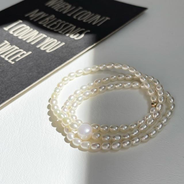 Pearl & 14KGF Beads / ストレッチ ループ アンクレット