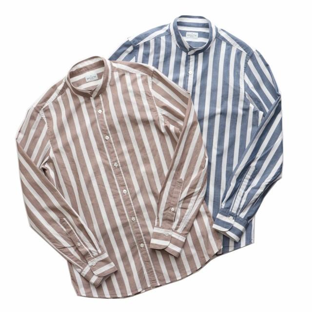 BAGUTTA / バグッタ コットン ストライプ バンドカラーシャツ