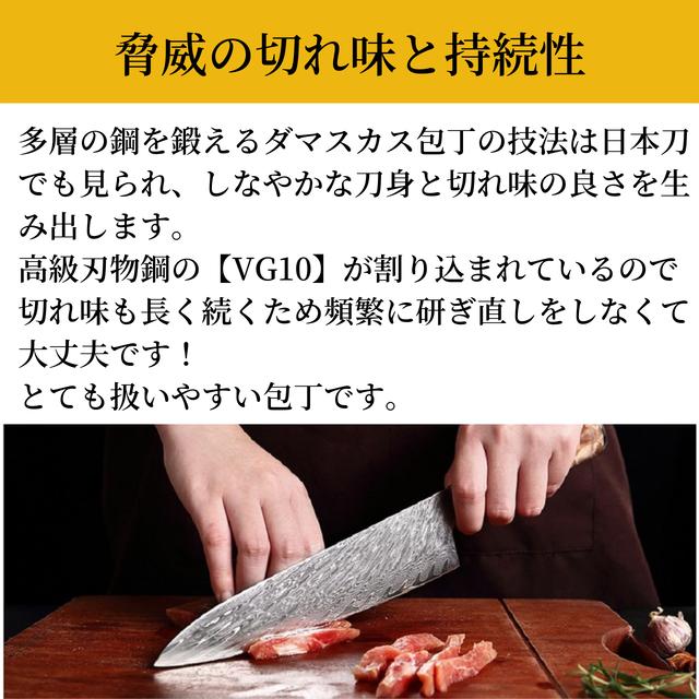 ダマスカス包丁 【XITUO 公式】 牛刀 刃渡り20cm VG10 ks20062001