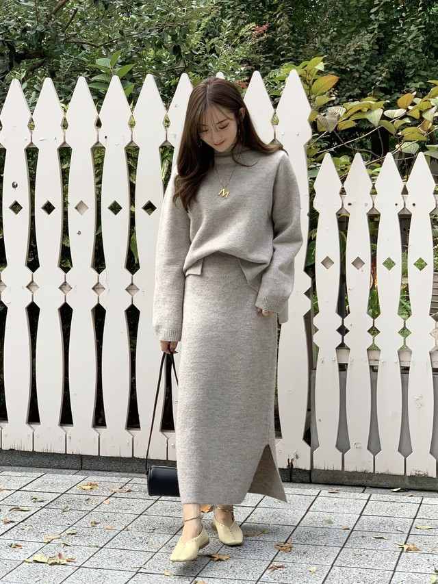 knit up skirt / beige (即納)