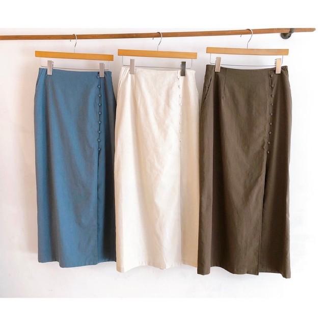 くるみボタンのIラインスカート
