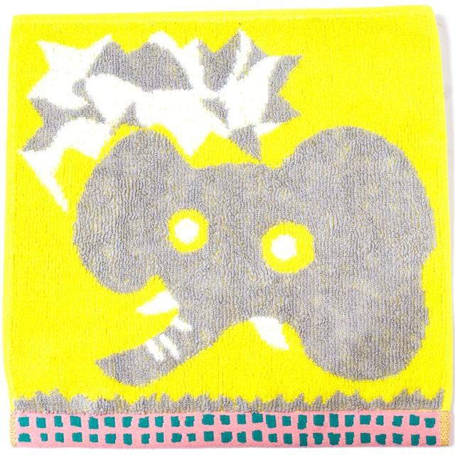 ひびのこづえ ミニタオル おしゃべり / ゾウ イエロー 25x25cm 綿100% 日本製 KH16-05