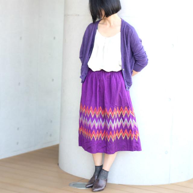 ミャンマーの手織り綿ギャザースカート