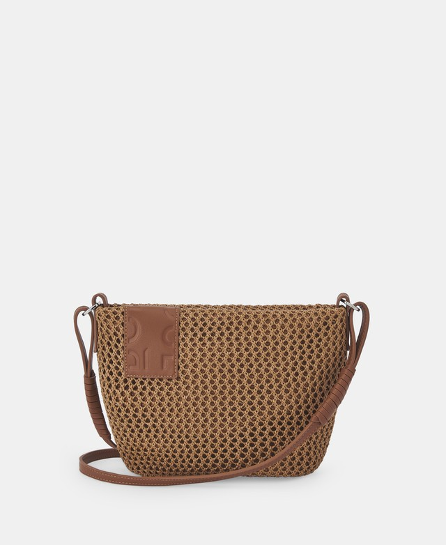 OPENWORK RAFFIA CAMEL SHOULDER BAG  [212591634211]
