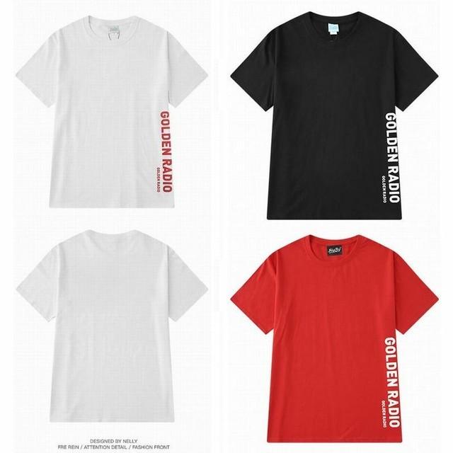 【3カラー】ユニセックス メンズ/レディース 半袖 Tシャツ 英字 サイドプリント ビッグT ルーズ ストリート / Street Plain Simple Letter Print Short Sleeve T-shirt (DCT-588348832649)