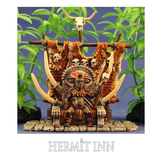 玉座に座る人食い部族の大王 - メイン画像