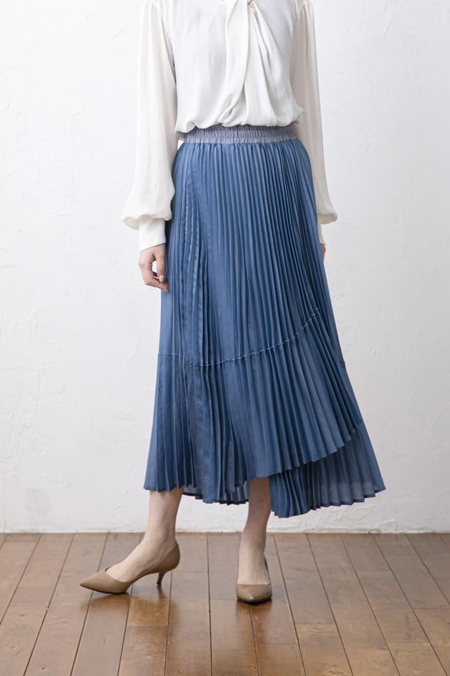 ラップ風プリーツスカート <BLUE>