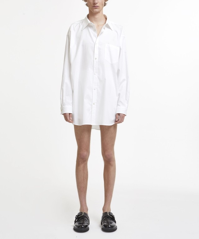 White Logo Text Embroidered Oversized Shirt