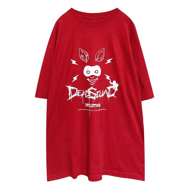 兎仮面 ルーズフィットTシャツ レッド