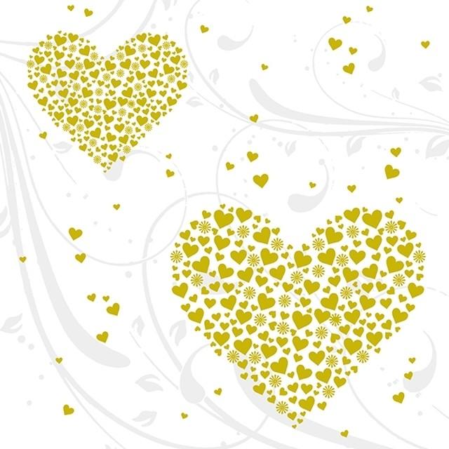 【Atelier】バラ売り2枚 ランチサイズ ペーパーナプキン GOLDEN HEARTS パールゴールド