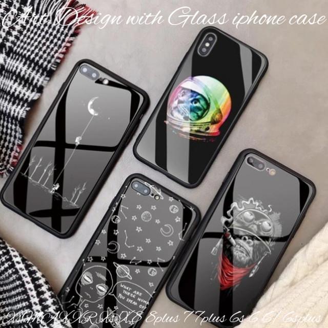 iphoneXsMAX XR iphoneXs X 8 8plus 7 6s ケース ソフト 強化ガラス ブラック 黒 かっこいい クール 大人 ストリート
