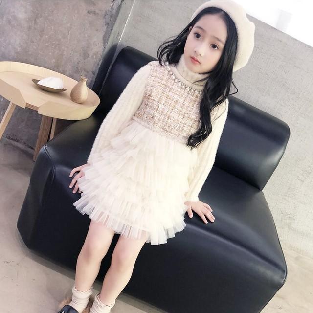 110~140cm ★ パール × ツイード × チュール ドレス ワンピース