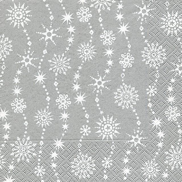 2019秋冬【Paper+Design】バラ売り2枚 ランチサイズ ペーパーナプキン CHRYSTAL WAVES シルバーパール