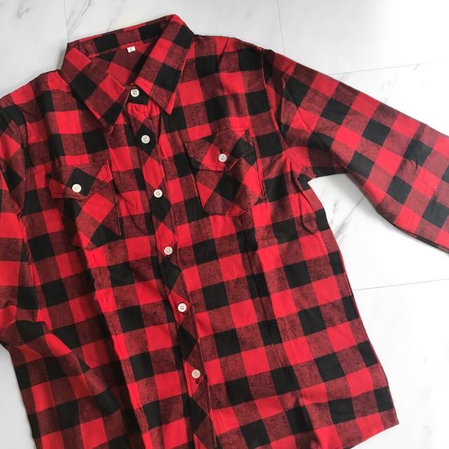 c[ H20]チェックシャツL021 レッド+ブラック