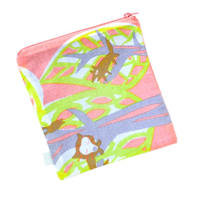 【マスクケースにオススメ】ひびのこづえ ファスナーポーチ(S) / 森の動物たち 京友禅浸透染 綿100% 日本製