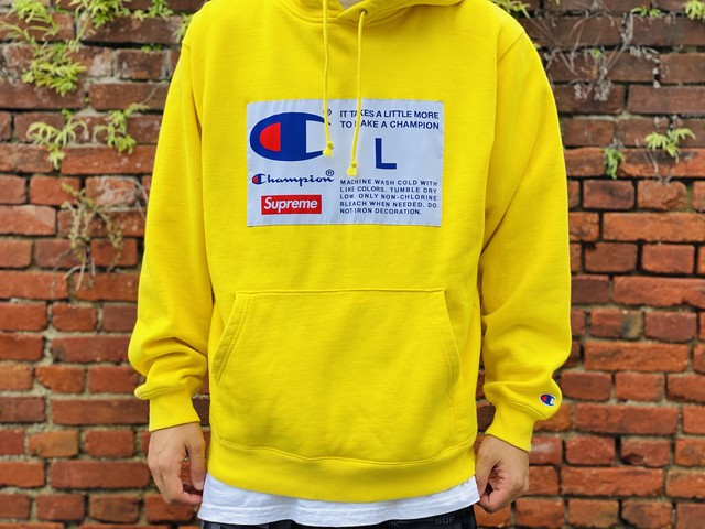 Supreme × CHAMPION LABEL HOODED SWEATSHIRT LARGE YELLOW  70JG7305