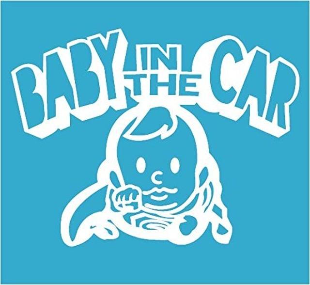 引続きセール主力商品20%OFF!  【カッティングシート】Baby in the Car Super Boy  -赤ちゃんが車に乗ってます- ホワイト【Super Boy】