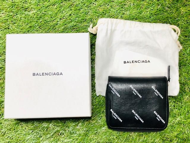 BALENCIAGA COMPACT LOGO ROUND ZIP WALLET 482870 BLACK 205IB2216