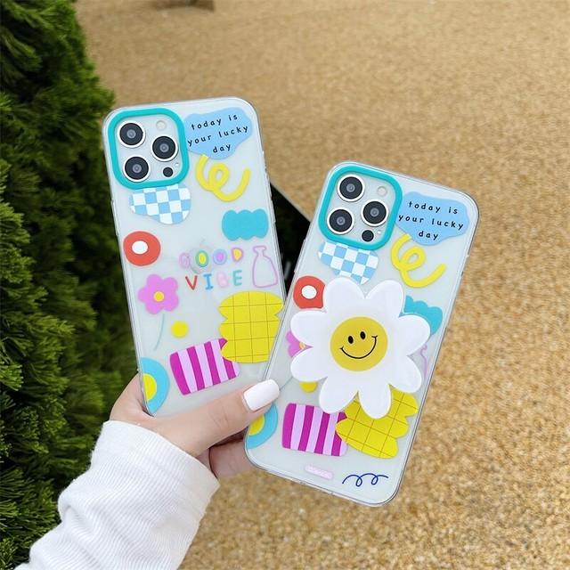 グリップ付き♪ Colorful flower iphone case