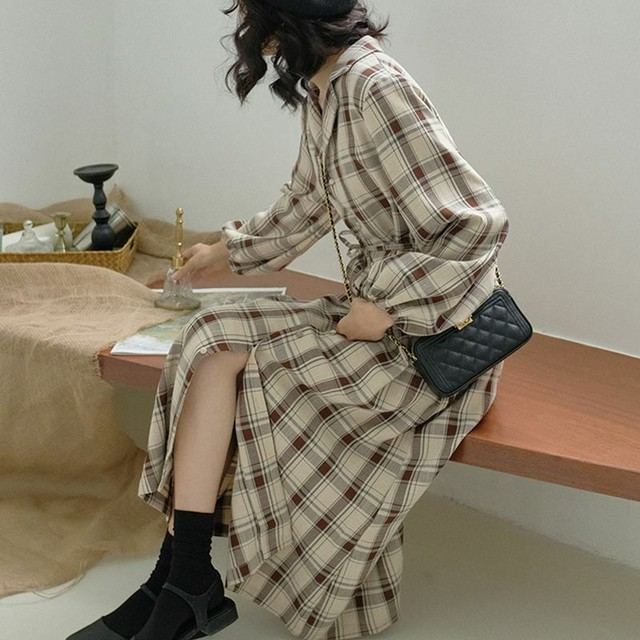 【送料無料】 カジュアルワンピ♡ チェック柄 シャツワンピ ロングワンピース ウエストマーク ボリューム袖