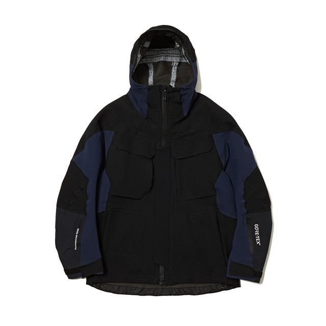 GORE-TEX CONTRASTED HOODED PARKA -BLACK