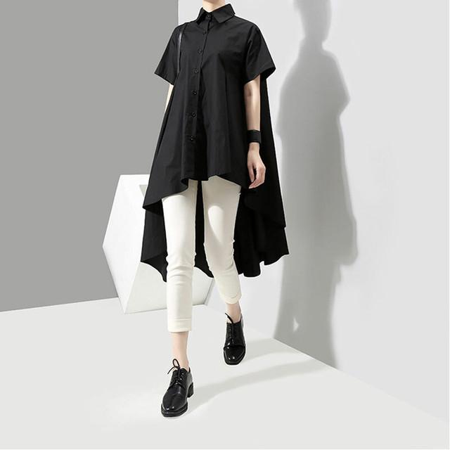 ファション シャツワンピース 折り襟 半袖 アシンメトリー 着心地良い 着痩せ 大きいサイズ オリジナルデザイン ロングワンピース ブラック ホワイト