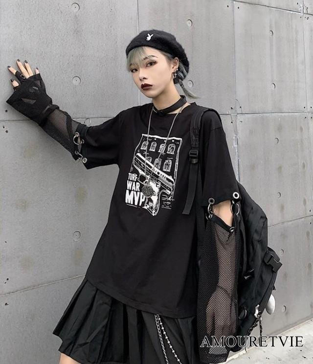 Tシャツ カットソー シースルー スタイリッシュ ピープス 黒 ブラック メッシュ オルチャン 韓国ファッション 895