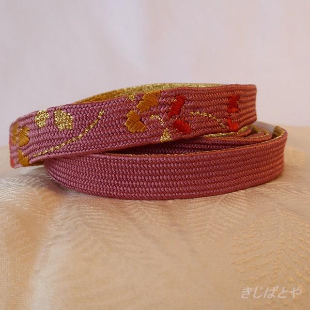 正絹 長春色に刺繍の帯締め