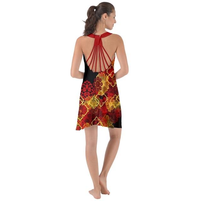 家紋装飾紅ライン ロープバックシフォンサマードレス