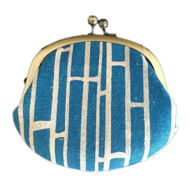 アタラシキイニシエ風呂敷で作った和雑貨 ミニガマグチ 青色