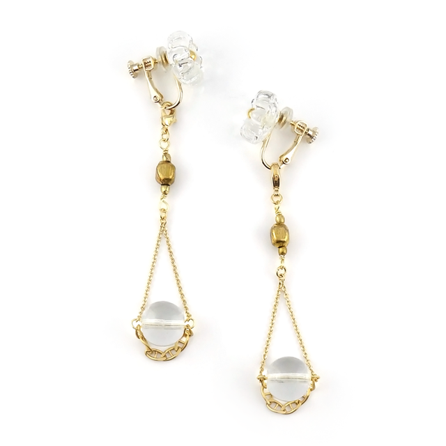 "【2way】 flower glass_vintage_earrings ""pure ice×pure ice"""