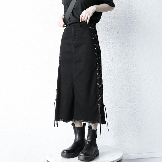 【KEN STUDIOシリーズ】★デニムスカート★ ボトムス スリット 個性的 ロング丈 ブラック 黒い S M L XL