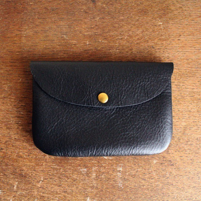 ■【 牛革のcoin purse pocket 】【S】Black