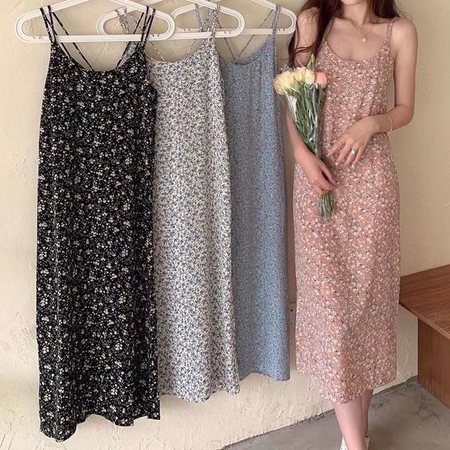 花柄 スリングワンピース キャミワンピース ノースリーブ 薄手 ハイウエスト 韓国ファッション レディース 大人可愛い ガーリー フェミニン / Long teab sling floral dress (DTC-642330615597)