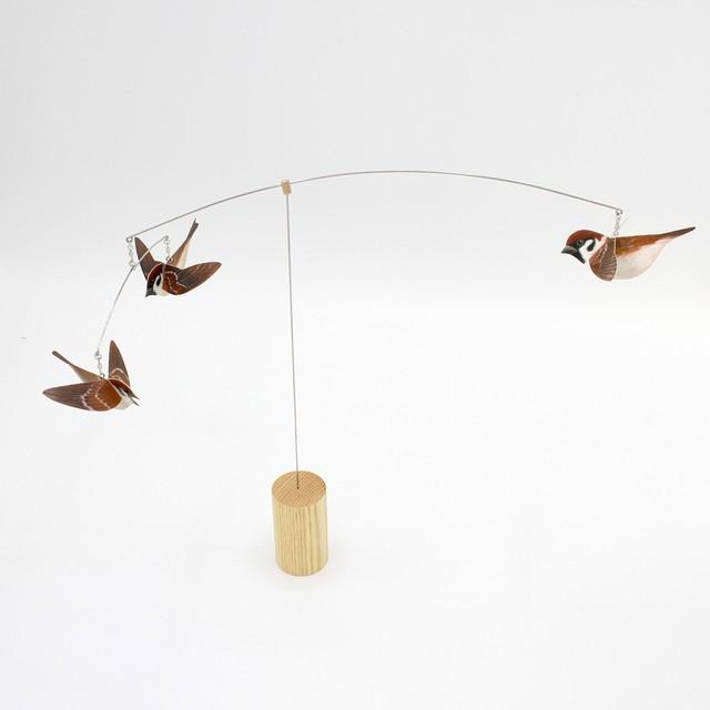 """スズメのモビール TORI Wild birds mobile Tree sparrows """"Suzume"""""""