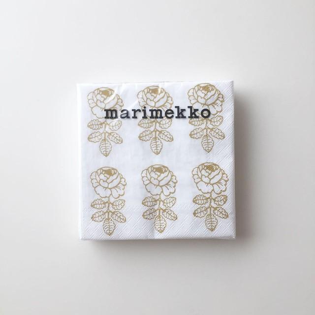 2020秋冬新作【marimekko】カクテルサイズ ペーパーナプキン VIHKIRUUSU ホワイト×ゴールド 20枚入り