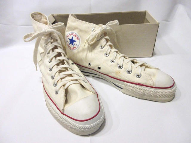 70-80's CONVERSE ALL STAR 赤蓋箱 きなり Hi / Men's 7 * Dead Stock