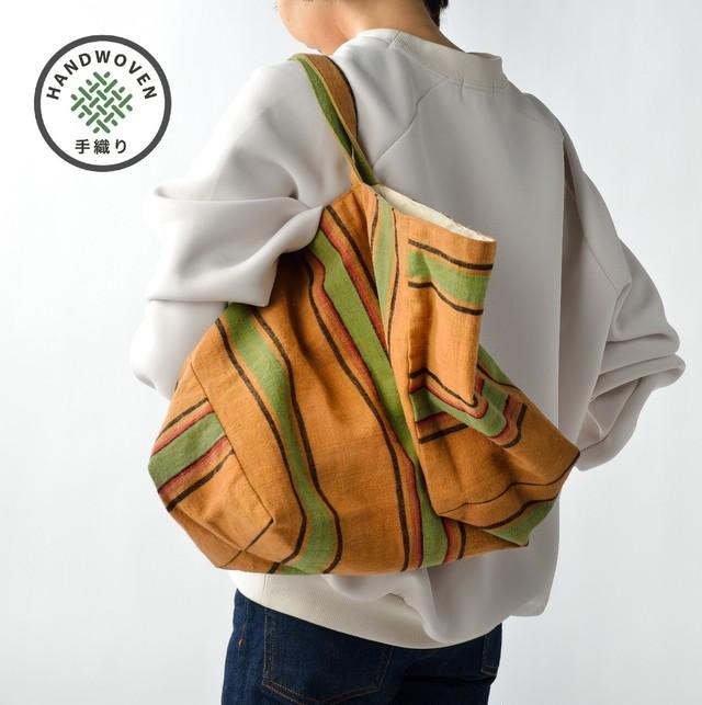 手織りビーチバック 茶×茶L