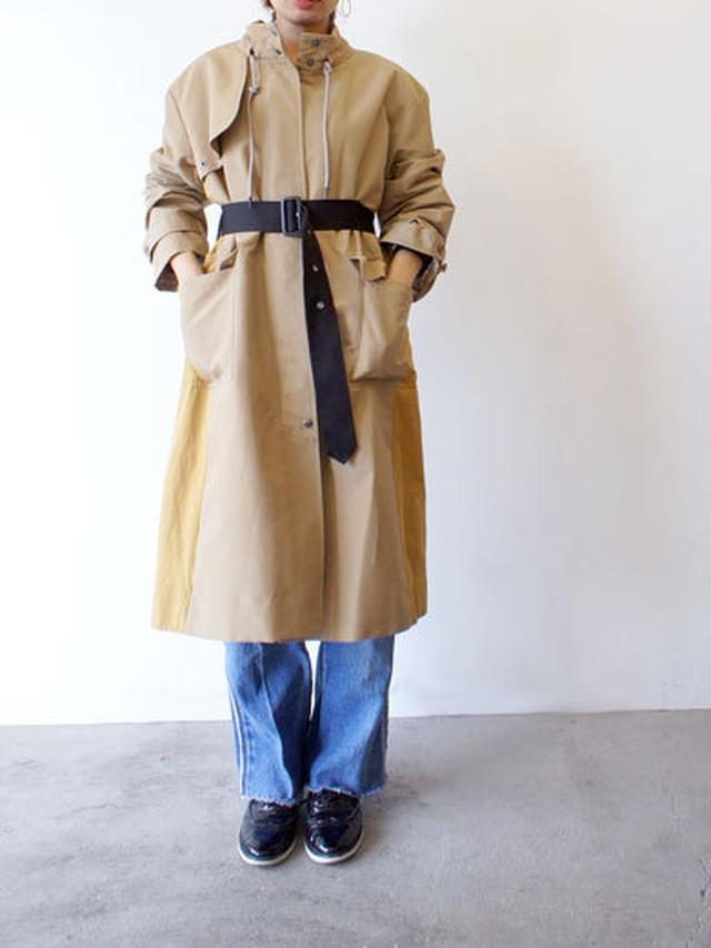 ベルト付配色コート / Lallegro