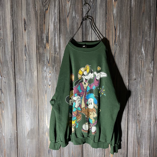 [used]Disney characters dark green sweat